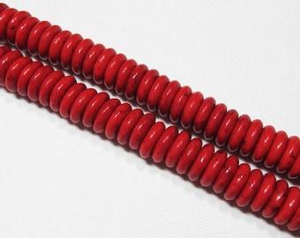 LOOSE Gemstone Beads - Magnesite Beads - 3x10mm Discs - Bright Red (15 beads) - gem1049