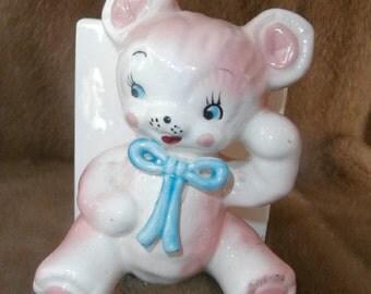 Planter-Pastel  Bear ABC Block Planter trinket holder - Nursery Baby -Vintage Napcoware Japan