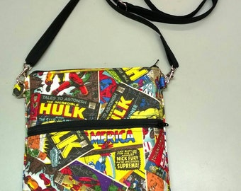 Marvel Comics handmade purse messenger bag featuring Spiderman Iron Man Hulk Thor Wolverine
