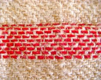 Red Striped European Vintage Linen Hemp Grainsack Handmade Fabric 15 x 19 Inches