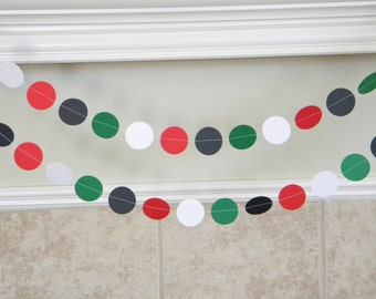 Red Black Green White Paper Garland, Pizza Birthday Party Decor, Chef Theme Party Decorations, Mexico Party Decor, Italian Wedding Decor