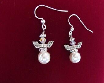 Czech Preciosa pearl angel earrings sterling ear wires