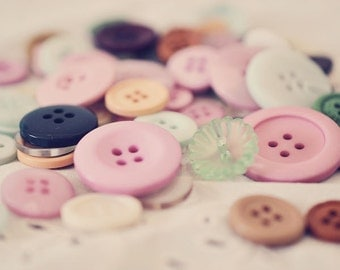 Buttons Photograph, Still Life Photography, Shabby Chic Photo, Vintage Buttons Photo, Pastel Colors, Craft Room, Nursery Decor, Girls Room