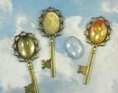 DIY 3 Bronze Oval Keys & Glass Domes Cabochon Settings Pendants Bezel Trays (P1830 -3)
