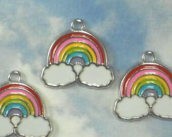 5 Rainbow Charms Enamel Colors & Silver Platinum Tone 20mm  (P1734)
