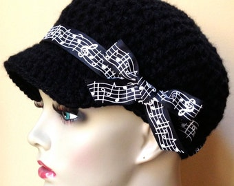 Musical, Womens Hat, Teen Adult Black Newsboy, Musical Notes Ribbon, Gifts for teachers, Music lovers, Chemo Hat, Birthday Gifts JE148NR5