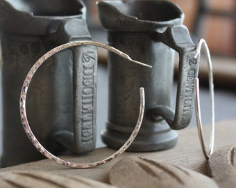 Large classic hammered recycled sterling hoops