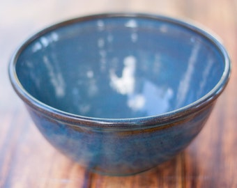 """9"""" Handmade Bowl-- Twilight Blue  -- Hand crafted pottery--  Large blue bowl for mixing, serving and more"""