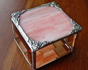 Trinket box, pink iridescent glass lid, with antiqued trim.
