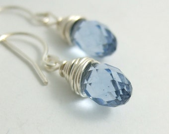 Earrings with Blue Crystal Teardrops Wire Wrapped HE-268