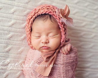 Silk Ties Newborn Baby Girl Bonnet Photo Prop Easter Rustic Knitted Cap Wool Organic Coming Home Hat Going Spring Outfit Baby Shower Gift