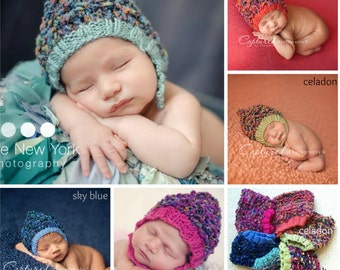 SALE Texture Pixie Baby Boy Hat Knitted Baby Girl Hat READY Ship Knit Newborn Photo Prop Fall Infant Cap Coming Home Outfit Chinstrap Bonnet