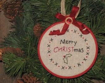 Merry Christmas Embroidery Hoop Art