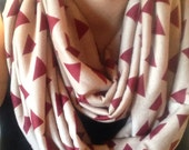 Infinity scarf. Great gift. Red triangles on dark knit. Perfect for fall/ winter. SUPER SALE.