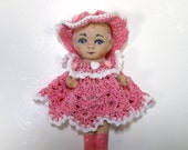 Porcelain  5 inch Collectible Cupie/kewpie Doll  in Pink Heart Dress