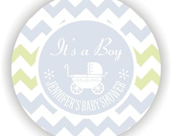Baby Carriage Theme Baby Shower Labels- Personalized Labels - 40 labels - 2inch circle - Thank You Labels - It's a Boy Labels