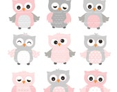 9 cute owls clip art, Pink Owls, baby pink and grey owls, baby girl owls clip art, color owls clip art, owl clip art