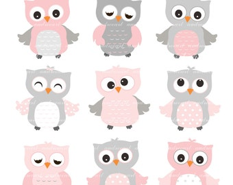 9 cute owls clipart, Pink Owls, baby pink and grey owls, baby girl owls clipart, color owls clipart, owl clipart