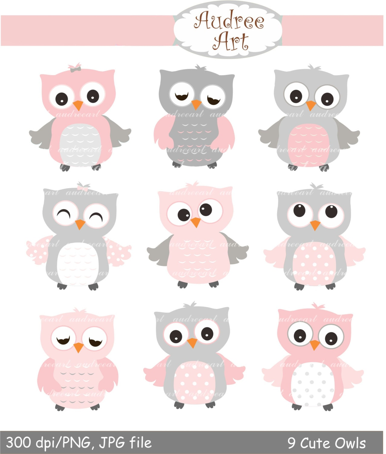 9 cute owls clipart, Pink Owls, baby pink and grey owls ...