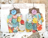chandelier earrings upcycle tin charm eco friendly button graphics rustic