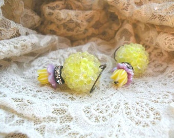 spring tulip earrings assemblage yellow bubble bead recycled vintage cottage chic