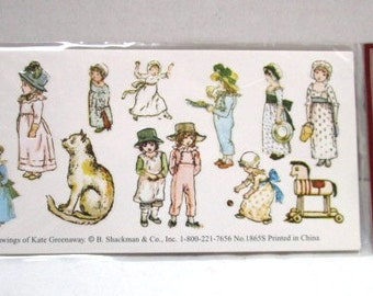 Vintage Kate Greenway Seals Stickers, NOS Unopened Package, Craft Supply, Shackman Antique Repro, 2 Sheets per Pack, Easter Basket Children