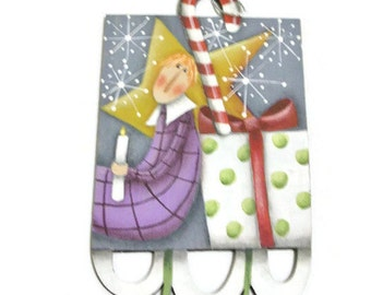 Hand Painted Whimsical Angel Ornament