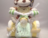 Tricycle Diaper Cake with Toy - Great gift or centerpiece for Baby Shower