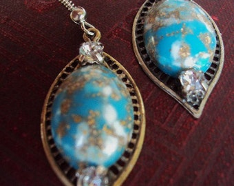 Vintage Turquoise and Rhinestone Earrings Filigree silver Leaf German Foiled Glass