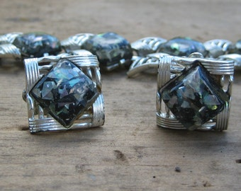 Vintage CORO CONFETTI Lucite Bracelet and Earrings Striking Black and Silver