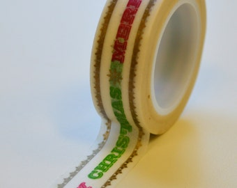 Washi Tape - 15mm MERRY CHRISTMAS with Gold Decorative Edge - Deco Paper Tape No. 1025
