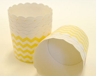 Chevron Nut or Portion Paper Baking Cups with Scalloped Tops - Yellow and White - set of 24