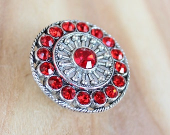 Crystal Drawer Knobs - Furniture Knobs with Ruby Red Glass Crystals (MK113) in Silver