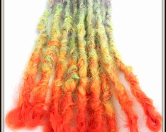 Rainbow Synthetic dreadlock extension. Knotty Dreadlock Extensions. Dread extensions. Rainbow dreadlocks. Pre made and Ready to ship dreads
