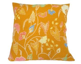 """Pillow, Cushion, Batik, 18"""" x 18"""", Yellow"""