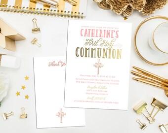 Modern First Communion Invitation. Baptism Invite. Custom First Holy Communion. Christening. Gold Coral, Blue, Grey. Gold Invite.