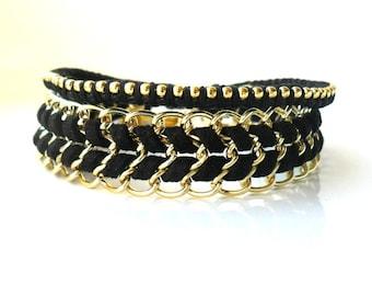 Black Gold Bracelet set / Boho Chic Chevron Bracelet  / Friendship Bracelet / Gift for Her / Party night Bracelet Christmas gift for her