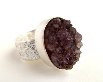 Druzy Amethyst Sterling Silver Ring With Natural Rough Amethyst