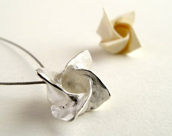 Origami Rose Jewelry Sterling Silver Rose Pendant Origami Rose Necklace Origami Flower