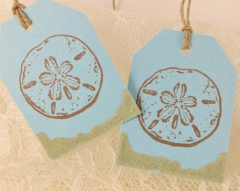 Sand Dollar Tags with Real Sand Accent Blue Nautical Wedding Beach Theme Set of 25