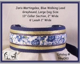 Jansmartingales, Navy Blue Walking Lead, Dog Collar and Lead Combination, Greyhound, Large Dog Size, Nvy083