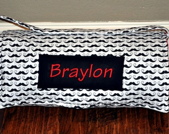 Nap Mat - Monogrammed Black & White Mustache Nap Mat with a Red Minky Dot Blanket