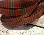 """3 yards 3/8"""" CHRISTMAS Red and Green Stripe Grosgrain Ribbon sold by the yard"""