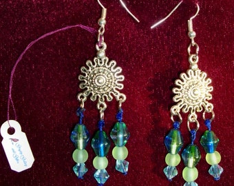 GORGEOUS Bohemian Earrings - Blue Swarovski, Frosted green glass beads, Blue-green bi-cones, Silver ear wires, RedRobinArt, Grigsby Gallery