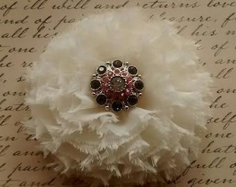 Ivory ruffle flower hair clip