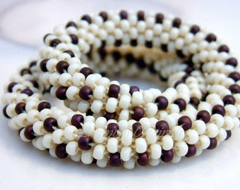 Bracelet Bead Crochet Bangle Berries and Cream in Maroon and Ivory Artisan Seed Beaded Rope