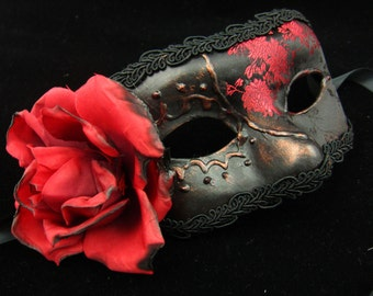 The Count and Contessa Paired Masks, Male and Female brocade covered eyemasks in red and black