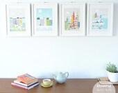 Wall Art Prints Selection, Choose Any 4 ( 5x7 | 8x10 | 8x11.5 ) New York, London, Paris, Chicago, home decor, kitchen, nursery, PPSO1