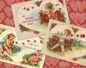 Old Fashioned Valentines - Cupids - Valentines Printable, Hang Tags, Instant Download and Print Digital Sheet