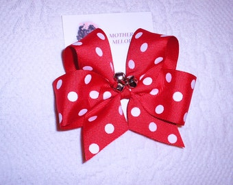 Red Grosgrain Bow with large white dots and 3 little bells.  Ready to Ship.